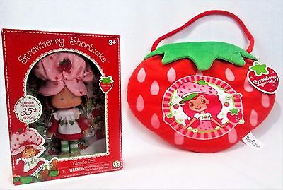 "2 NEW Kid's Toys: STRAWBERRY SHORTCAKE Scented Classic 6"" DOLL & Plush Purse Bag"