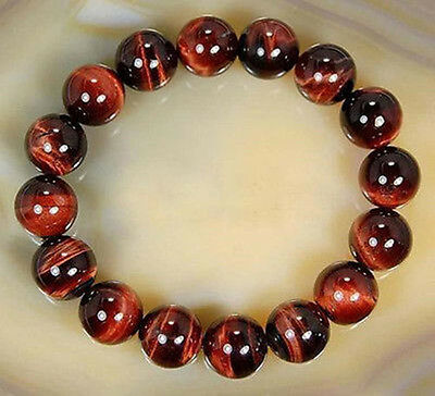"""AAA 10mm Natural Red Tiger's Eye Round Beads Bracelet 7.5"""""""