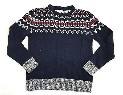 Cat & Jack Boys Nordic Holiday Christmas Sweater Sz M 8/10 Blue Red Long Sleeve