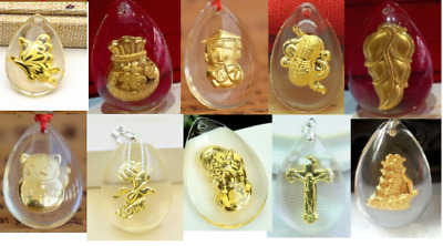 10pcs New Fine 24K Yellow Gold &Crystal Pendant Man Woman's Lucky Crystal Gift