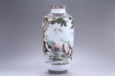 Exquisite chinese painting Panda porcelain Vase qianlong mark HP294