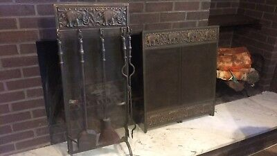 Iron Fireplace Cover And Tools
