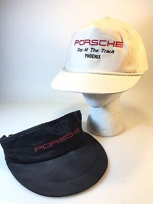2 Vintage Porsche Hat Caps! Black / White, Day At The Track Phoenix, Collectible