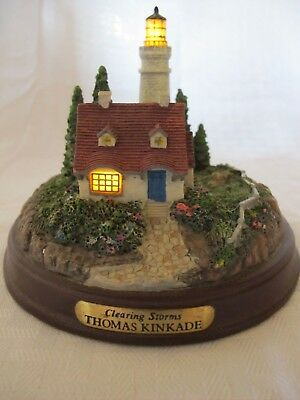 """Thomas Kincaid """"Clearing Storms"""" Lighthouse Figurine 1233 TH. Box 41"""