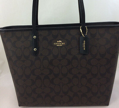 NWT Coach F58292 Signature Zip Top Leather Trimmed Large Tote Purse Brown Black