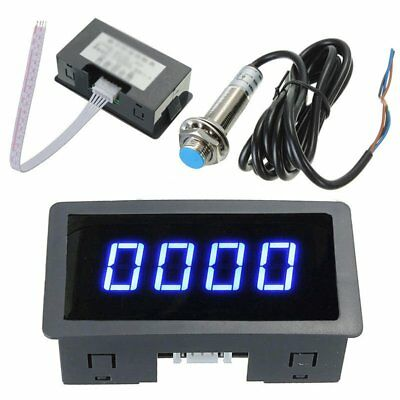 4 Digital LED Blue Tachometer RPM Speed Meter+Hall Proximity Switch Sensor LOT Y