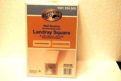 Hampton Bay Landray Square 1 Light Brushed Nickel Wall Sconce New In Box