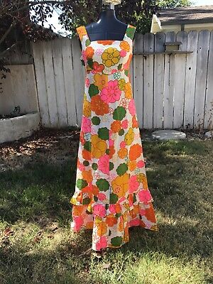 VTG NALII 1960s NEON FLORAL MAXI DRESS ORANGE PINK EMPIRE WAIST BOHO HIPPIE XS/S