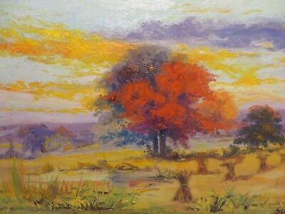 "14x20 original 1924 oil painting on board by Adrian Brewer ""Fall in the Country"""