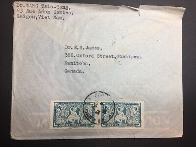 INDO-CHINA Stamp Cover - Saigon Viet Nam to Canada - Pair 168A 1951! RARE