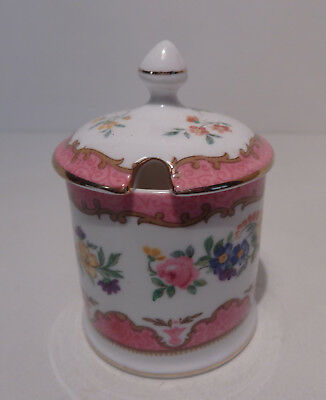 Crown Staffordshire Tunis Lidded Jam or Mustard Pot Pink Colourway