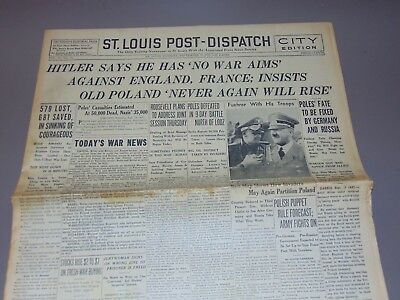 Sept. 19, 1939 St. Louis Newspaper: Wwii Hitler Has No War Aims Against England