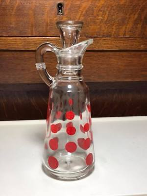 Vintage Anchor Hocking Red Polka Dot Cruet