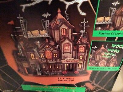 Lemax Spooky Town Dr. Tingle's Laboratory Halloween Porcelain Lighted House