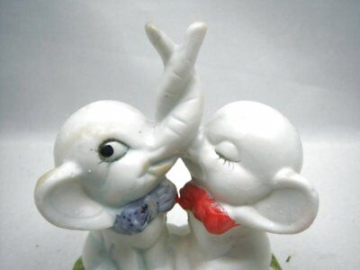 Vintage Elephants with Entwined Trunks Figurine Porcelain Love Valentines Day Un