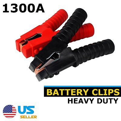 2Pcs Red&Black Car Battery Clips Crocodile 1300A Metal  Alligator Test Clamps
