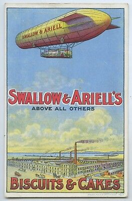 1908 Litho Advert Postcard Swallow & Ariell's Airship Biscuits & Cakes Melb. T56