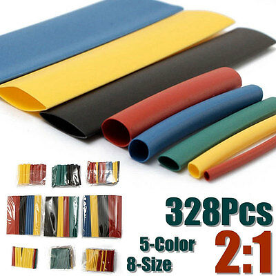 328Pcs Polyolefin 2:1 Heat Shrink Tube Sleeving Wire Cable Wrap Sleeve 8 Sizes Y