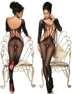 Saresia Body Stocking Stretch Catsuit Schritt offen S M L 36 38 40 Sexy Dessous