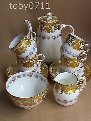 HAMMERSLEY 13838 PINK ROSES & GILDING IN RELIEF COFFEE SERVICE -QUALITY(Ref1009)