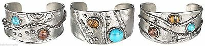 Ganz Women's Jewelry Silver With Turquoise & Brown Stones Cuff Bracelet ER25451