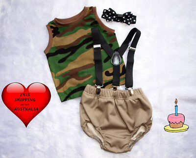 Baby boys smash cake outfit, In the Army, 1st birthday outfit,Boy's Size 1