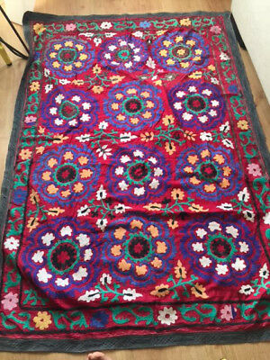 Handmade Artisanal Turkish Rug / Carpet - Hand Embroidered, Red, Flowers Pattern
