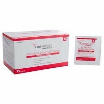 Cardinal Health Essentials Adhesive Remover Wipes 1.25'' x 3'' Box of 75 **NEW**