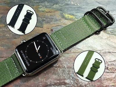Sports Military Nylon Canvas Fabric Band Strap for Apple Watch iWatch 38 42mm