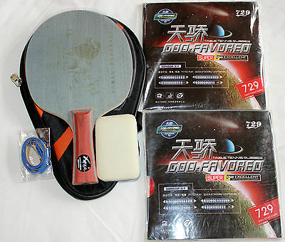 Near-Table Fast Attack: Custom-made Table Tennis Bat: Lion + 729 Attack Rubbers