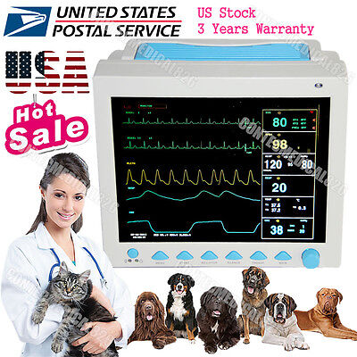 Veterinary Patient Monitor ICU Vital Signs Monitor ECG,NIBP,PR,Spo2,Temp,Resp,