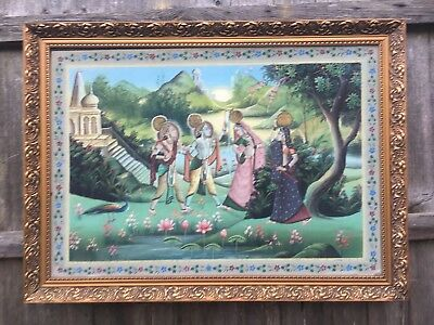 Very Large Original Painting Of A Hindu Scene In Gold Gilt Frame