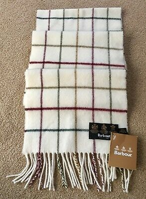 Barbour Tattersall Cream Scarf New With Tag 100% Lambswool
