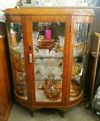 Restored bow front china display cabinet * retro vintage antique curved glass