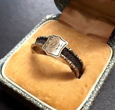 1864 rare Braided mourning hair 18k 18ct gold ring antique Victorian