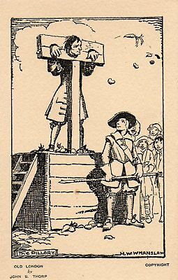 Vintage Postcard - Old London - Punishments Of The Past - The Pillory