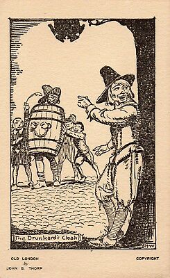 Vintage Postcard - Old London - Punishments Of The Past - The Drunkards Cloak