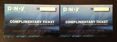 Dendy Cinemas Passes x 2 Cinema Tickets Movie Passes