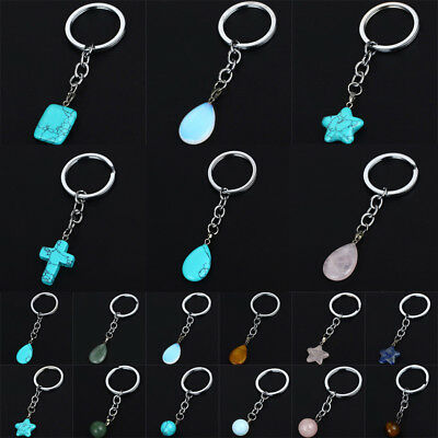 Opal Water Drop Cross Keychains Jewelry Natural Stone Keyrings Key Chains Gifts