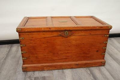 Antique Victorian Pine & Brass Blanket Box / Coffee Table / Chest