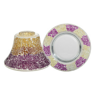 Yankee Candle Purple & Gold Crackle Large Shade and Tray For Lg/Med Jars NEW
