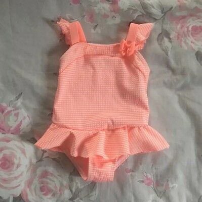 BNWT Baby Girls Coral Stripe Swimming Costume Swimsuit 3-6 Months