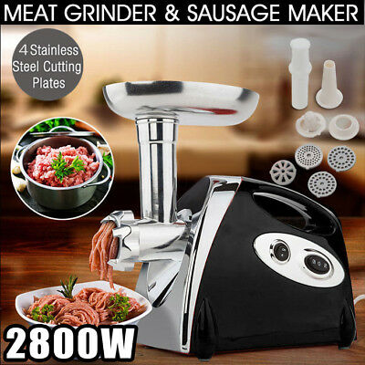 2800W ELECTRIC MEAT GRINDER STAINLESS STEEL SAUSAGE FILLER MINCER MAKER AU Plug