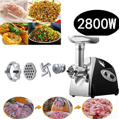 NEW 2800W Electric Meat Mincer Grinder Stainless Steel Sausage Kubbe Maker AU