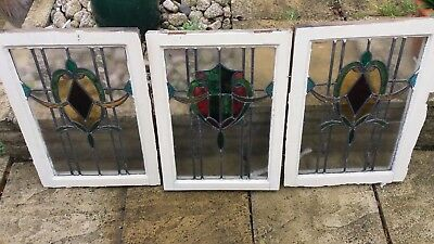 3 xVintage Stained Glass windows circa 1920/30