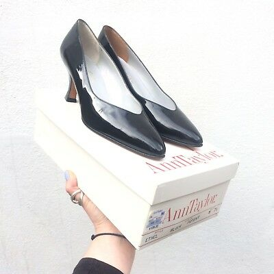 New Vtg Black Patent Leather Pumps Mid Heels Party Ann Taylor 5 Narrow Width