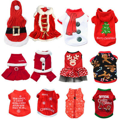 Pet Dog Puppy Santa Shirt Christmas Clothes Costumes Warm Jacket Coat Apparel