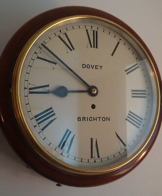 """An excellent signwritten Victorian 12"""" Fusee School Clock in GWO."""