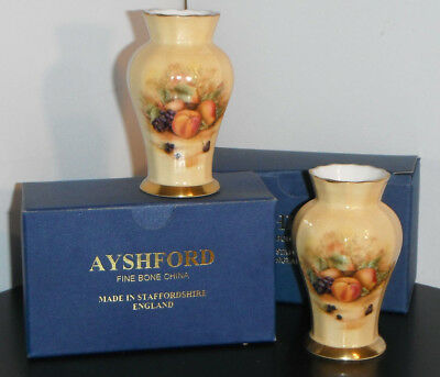 Boxed Pair AYNSLEY ORCHARD GOLD Ribbed Vases 9cm