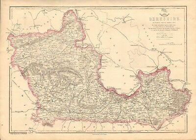 1863  Large Antique Map -Dispatch Atlas-Berkshire